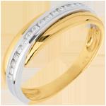 Verkäufe Trauring Diamantenband in Weiss- und Gelbgold - Kanalfassung - 16 Diamanten