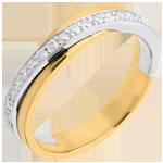 Juwelier Trauring Diamantenband in Weiss- und Gelbgold - Kanalfassung - 17 Diamanten