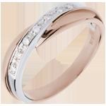 Trauring Diamantenband in Weiss- und Rotgold - Kanalfassung - 7 Diamanten