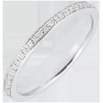Geschenk Frauen Trauring Diamantglanz - Vollständige Drehung - Weißgold und Diamanten