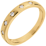 Juwelier Trauring Diamantregen in Gelbgold - 5 Diamanten