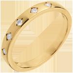 Online Verkäufe Trauring Diamantregen in Gelbgold - 5 Diamanten