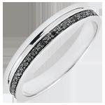 Frau Trauring Eleganz Weißgold und schwarze Diamanten