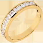 Geschenk Frauen Trauring Feinschliff in Gelbgold - Kanalfassung - 0.65 Karat - 8 Diamanten