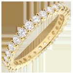 Juwelier Trauring Gelbgold Pavé - Krappenfassung - 1.11 Karat - Komplette Umdrehung