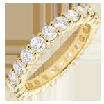 Juwelier Trauring Gelbgold Pavé - Krappenfassung - 2 Karat - Komplette Umdrehung
