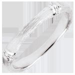 Trauring Heiliger Urwald - Diamantenvielfalt 3 mm - 18 Karat gebürstetes Weißgold