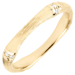 Geschenk Trauring Heiliger Urwald - Diamantenvielfalt 3 mm - 9 Karat gebürstetes Gelbgold