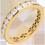 Geschenke Frau Trauring mit Diamanten besetzt in Gelbgold - Kanalfassung - 2 Karat - 23 Diamanten