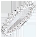 Verkäufe Trauring mit Diamanten besetzt in Weissgold - Krappenfassung - 1.1 Karat - 30 Diamanten