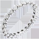 Geschenk Frau Trauring mit Diamanten besetzt in Weissgold - Krappenfassung - 1.15 Karat - 22 Diamanten