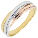Geschenk Frau Trauring Saturn Diamant - Dreierlei Gold - 18 Karat