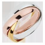 Trauring Saturn Rotation - Großes Modell - Dreierlei Gold, 3 Ringe