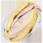 Juweliere Trauring Saturn Rotation - Mittleres Modell - Dreierlei Gold, 3 Ringe