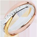 Juwelier Trauring Saturn Rotation Variation - Großes Modell - Zweierlei Gold, 3 Ringe
