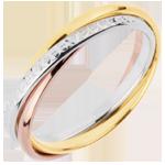 Geschenk Frau Trauring Saturn Rotation Variation - Kleines Modell - Dreierlei Gold, 3 Ringe