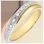 Geschenk Frau Trauring Saturn - Trilogie - Dreierlei Gold und Diamanten - 18 Karat