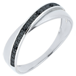 Verkäufe Trauring Saturnduett - Diamanten - Schwarze Diamanten - 18 Karat