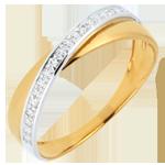 Juwelier Trauring Saturnduett - Diamanten - Weiß- und Gelbgold - 9 Karat