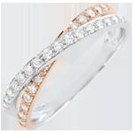 Geschenk Frau Trauring Saturnduett - Diamantendoppel - Rot- und Weißgold - 18 Karat
