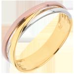 Trauring Saturntrilogie Variation - Dreierlei Gold - 18 Karat