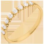 Trauring semi pavé in Gelbgold - Krappenfassung - 0.3 Karat - 8 Diamanten