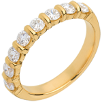 Juwelier Trauring semi pavé in Gelbgold - Krappenfassung - 0.75 Karat - 8 Diamanten
