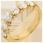 Frau Trauring semi pavé in Gelbgold - Krappenfassung - 1.2 Karat - 6 Diamanten