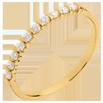 Juwelier Trauring semi pavé in Gelbgold - Krappenfassung - 10 Diamanten