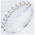 Trauring semi pavé in Weissgold - Krappenfassung - 0.5 Karat - 11 Diamanten