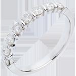 Trauring semi pavé in Weissgold - Krappenfassung - 0.65 Karat - 8 Diamanten