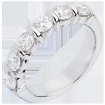 Geschenke Frau Trauring semi pavé in Weissgold - Krappenfassung - 1.5 Karat - 6 Diamanten