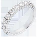 Trauring semi pavé in Weissgold - Krappenfassung - 1 Karat - 9 Diamanten