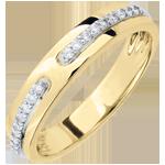 Geschenke Frauen Trauring Versprechen - Gelbgold und Diamanten - Großes Modell - 18 Karat