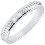 Online Kauf Trauring Versprechen - Weißgold und Diamanten - Kleines Modell