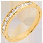 Verkäufe Trauring zur Hälfte mit Diamanten besetzt in Gelbgold - Kanalfassung - 0.3 Karat - 10 Diamanten