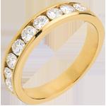 Geschenke Frau Trauring zur Hälfte mit Diamanten besetzt in Gelbgold - Kanalfassung - 0.75 Karat - 9 Diamanten