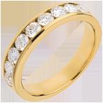 Juwelier Trauring zur Hälfte mit Diamanten besetzt in Gelbgold - Kanalfassung - 1 Karat - 9 Diamanten