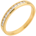 Kauf Trauring zur Hälfte mit Diamanten besetzt in Gelbgold - Kanalfassung - 11 Diamanten