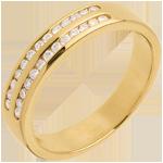 Geschenk Trauring zur Hälfte mit Diamanten besetzt in Gelbgold - Kanalfassung 2-reihig - 0.21 Karat - 26 Diamanten