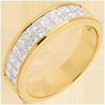 Geschenke Trauring zur Hälfte mit Diamanten besetzt in Gelbgold - Kanalfassung 2-reihig - 1 Karat