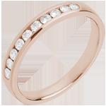 Juweliere Trauring zur Hälfte mit Diamanten besetzt in Rotgold - Kanalfassung - 0.25 Karat - 10 Diamanten