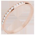 Geschenk Frau Trauring zur Hälfte mit Diamanten besetzt in Rotgold - Kanalfassung - 11 Diamanten