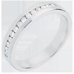 Geschenke Frau Trauring zur Hälfte mit Diamanten besetzt in Weissgold - Kanalfassung - 0.21 Karat - 14 Diamanten