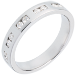 Juwelier Trauring zur Hälfte mit Diamanten besetzt in Weissgold - Kanalfassung - 0.22 Karat - 10 Diamanten