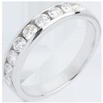 Hochzeit Trauring zur Hälfte mit Diamanten besetzt in Weissgold - Kanalfassung - 0.5 Karat - 11 Diamanten