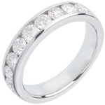 Geschenke Trauring zur Hälfte mit Diamanten besetzt in Weissgold - Kanalfassung - 1 Karat - 9 Diamanten