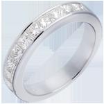 Geschenke Trauring zur Hälfte mit Diamanten besetzt in Weissgold - Kanalfassung - 1 Karat