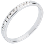 Geschenk Trauring zur Hälfte mit Diamanten besetzt in Weissgold - Kanalfassung - 11 Diamanten: 0.15 Karat