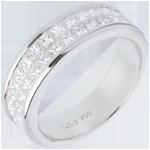 Online Verkauf Trauring zur Hälfte mit Diamanten in Weissgold - Kanalfassung 2-reihig - 1.5 Karat